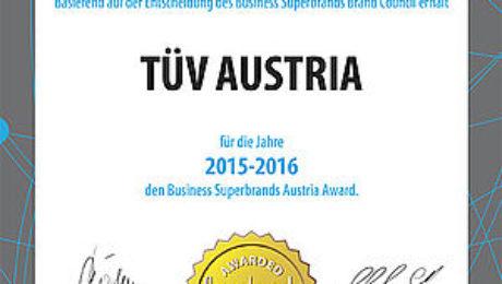 TUV AUSTRIA as Business Super Brand Austria 2015-2016.
